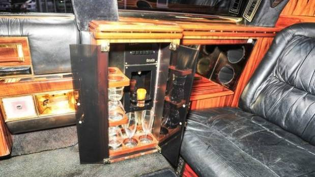 A cocktail cabinet is among the extras in the back of the limousine which now US President Donald Trump had built back ...