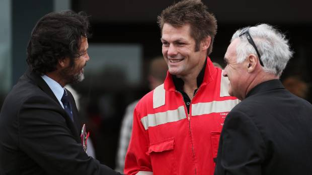 Willie Apiata and Richie McCaw greet other guests before the funeral of the former SAS soldier David Steven Askin.