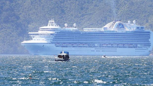 The Emerald Princess steams past Waikawa Bay to Shakespeare Bay in Picton on Monday, a full day earlier than expected.