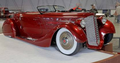 """Top down time for the """"Mulholland Speedster"""", a 1936 Packard built by Hollywood Hot Rods."""