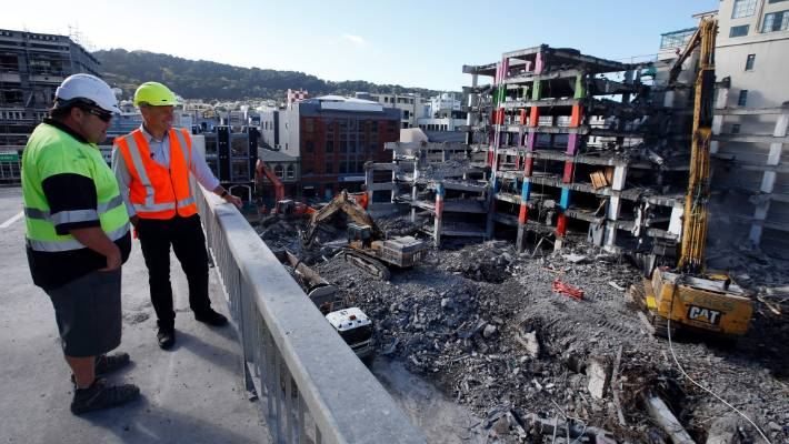 The 2016 earthquakes, which shook Wellington, were a major claims event for insurers. Pictured here is demolition of the quake-damaged Reading Cinema carparking building.