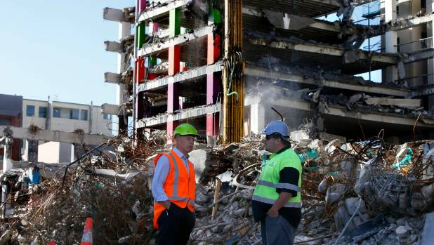 Wellington City Council project manager Phil Becker, left, and Naylor Love site manager Elliot Bartley discuss ...