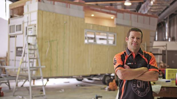 Stan Scott is building the first Mitre 10 DIY tiny house - from 40 pieces of plywood. The house will be completed later ...