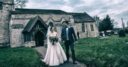 The couple outside the beautiful South Yorkshire church where all previous generations of Andrew's family have been married.