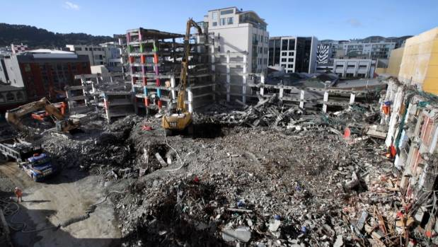 """The demolition of the condemned Reading Cinema carpark in Wellington's central city is """"around three-quarters complete"""" ..."""