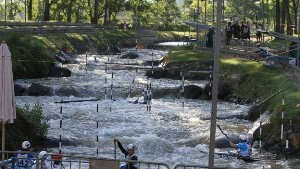 Parc Olimpic del Segre at La Seu d'Urgell - the whitewater kayaking park used for the 1992 Barcelona Olympics. A ...