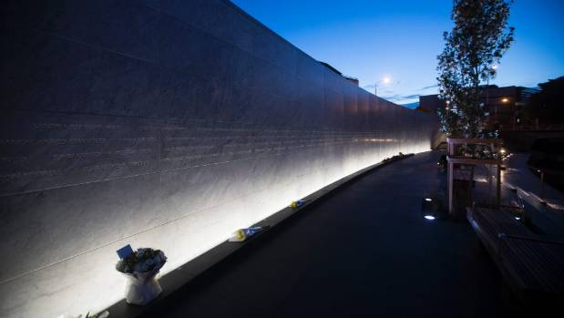 Oi Manawa, the official New Zealand national memorial to the 185 victims of the 22 February 2011 earthquake, shown at dawn on the 6th anniversary of the quake.