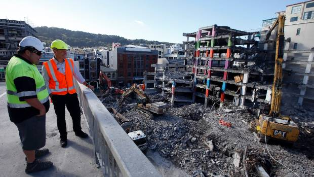 Wellington City Council project manager Phil Becker, right, and Naylor Love site manager Elliot Bartley have kept a ...