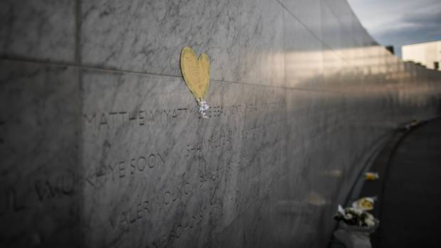 "A note for Matty Beaumont, who died in the CTV building, above his name on the memorial. It reads: ""We think of you ..."
