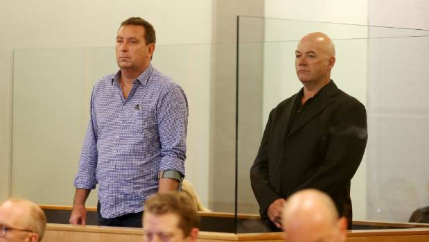 Murray Noone, left, and Stephen Borlase appear in the High Court at Auckland for sentencing on corruption charges