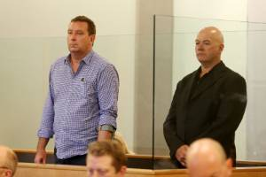 Murray Noone, left, and Stephen Borlase appear in the High Court at Auckland for sentencing on fraud charges