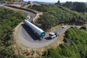 A tower section of a replacement Brooklyn wind turbine in Wellington being transported to the site.