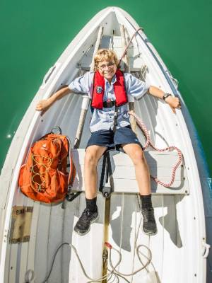Luca Beihenert, 12, lives on a yacht in the harbour, and takes a dingy, then cycles to Nelson Intermediate School every day.