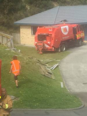 A rubbish truck crashed into a house on Maungaraki Rd, Lower Hutt.
