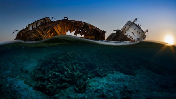 This is the wreck of the Louilla resting on top of Gordon reef in the Straits of Tiran on the edge of the Sinai.
