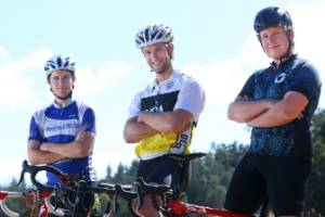 Marlborough cyclists Leatham Landon-Lane, left, Callum Saunders and Nick Blakiston endured a weather bomb during their ...