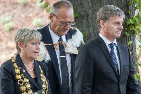 From left: Christchurch Mayor Lianne Dalziel, former Ngai Tahu kaiwhakahaere Sir Mark Solomon, Prime Minister Bill ...