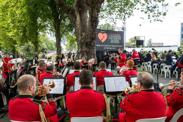The Burnham-based New Zealand Army Band play at the ceremony.
