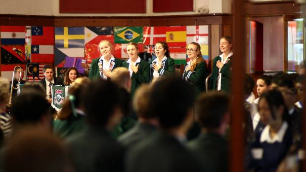 Craighead Diocesan School singers perform at the international students welcoming ceremony.