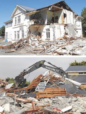 Gore High School's hostel buildings are being demolished.