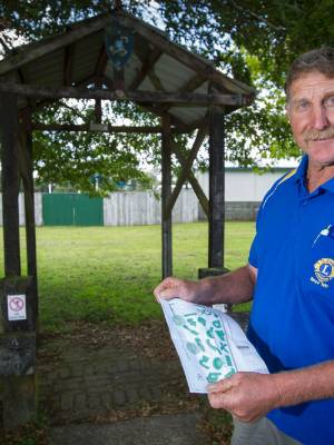 Inglewood Community Mini Putt Charitable Trust Chairman at the entrance to Jubilee Park where the trust plans to build a ...