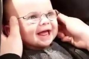At four months old, baby Emil receives glasses - and his reaction is priceless.