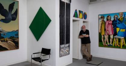 Warwick Brown with works by Don Binney, Milan Mrkusich, Ralph Hotere, Max Gimblett and Ian Scott.