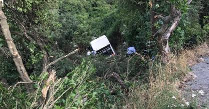 Andy Bishop, who sent this photo, says the bus crashed after heading down from the Hilltop Tavern, between Barrys Bay ...