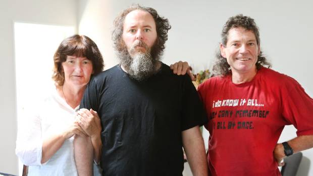 The Sim family, from left, Cathy Kiely, her son Jesse Sim, and Philip Sim.