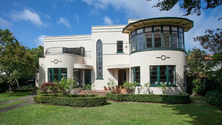 A Modern Art Deco Home Visualized In Two Styles: Art Deco Beauty For Sale In Hamilton Sits High Above The