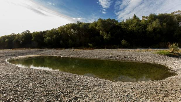 Chamberlains Ford on the Selwyn River was almost completely dry when photographed on February 22.