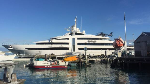 Vibrant Curiosity in Nelson habour as superyacht berths