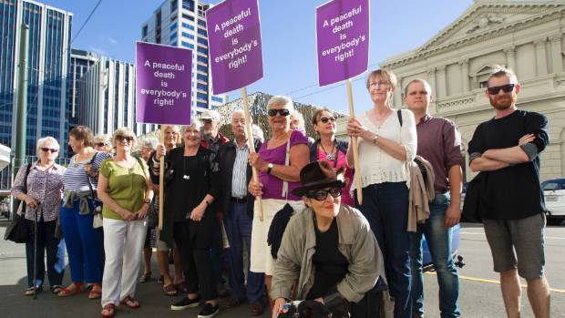 Supporters of Susan Austen outside the Wellington District Court.(File photo)
