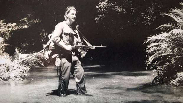 A 22-year-old Patrick Edwards on patrol on the Thai-Malay border in 1959.