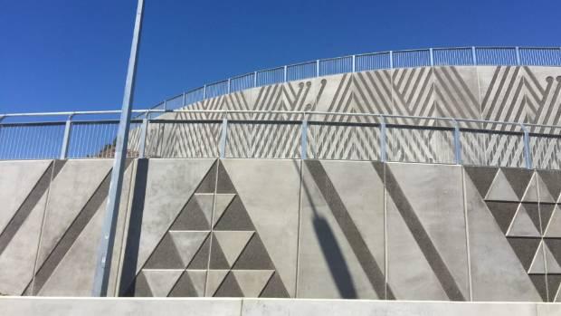 A panel of art work on the side of the Kapiti expressway, near Waikanae Beach.
