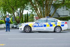 Police at a cordon on Woodley Ave Remuera.