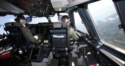 Flight Lieutenant Rebecca Lee and Squadron Leader Rich Mcphaden fly the A400M over the Marlborough Sounds on Friday.