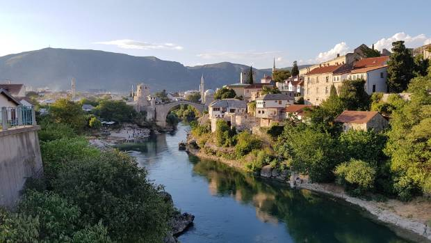 This photo was taken in August 2016 in Mostar, a town in Southern Bosnia and Herzegovina. The bridge is called Stari ...
