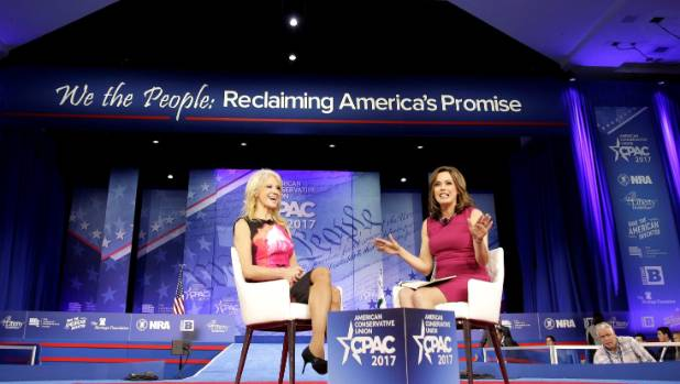 Kellyanne Conway speaks with Mercedes Schlapp at the Conservative Political Action Conference (CPAC) in Maryland.