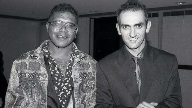 Archie Roach with Paul Kelly, after winning an ARIA for his debut album circa 1991.