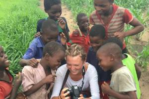 Stuff Nation use only - Holly Scott, centre, with a group of children from Chifunga Secondary School, Malawi.