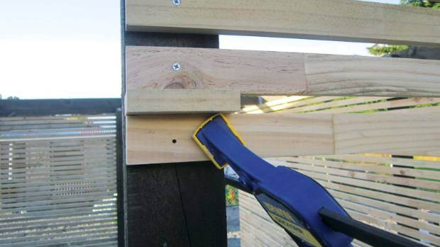 6. For the back and side walls, measure the distance between the posts where you want to put the battens. Cut the ...