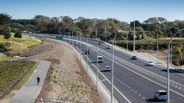 Traffic flows for the first time on the opening day of the Kapiti expressway.