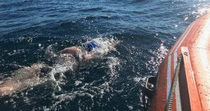 Caitlin O'Reilly faced her fears, finishing in the dark, after breaking the record for the youngest female to swim Cook ...