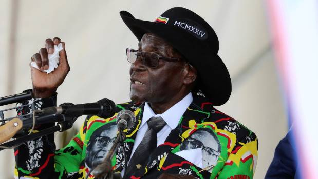 President Robert Mugabe speaks to supporters gathered to celebrate his 93rd birthday in Zimbabwe.