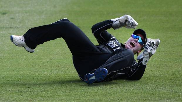Black Caps wicketkeeper Rachel Priest takes a catch to dismiss Nicole Bolton in the one-day international at Eden Park ...