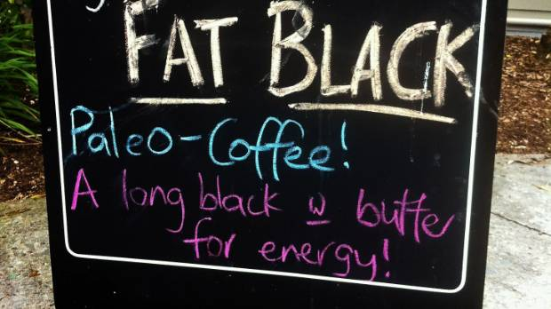 A cafe in Whangerei serves 'paleo coffee' in 2014: a long black mixed with a dollop of butter and a teaspoon of coconut oil.