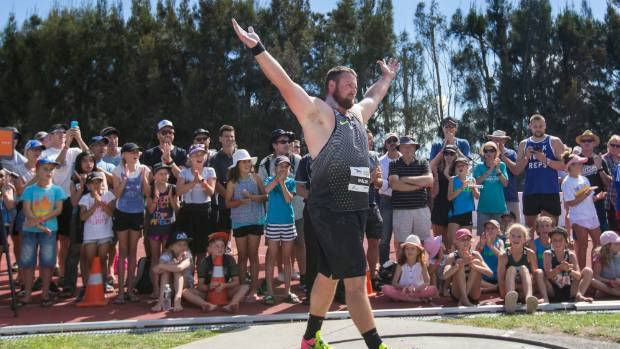 Tom Walsh from New Zealand breaks the NZ residents shot put recorded during the 2017 Auckland Track Challenge athletics ...