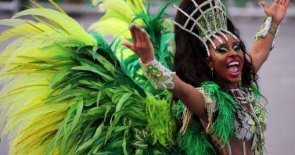 A reveller parades for the Nenen de Vila Matilde samba school during the carnival in Sao Paulo, Brazil on February 26.