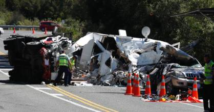 Police, fire and ambulance attend the scene of at a double fatality crash near Maisey Rd intersection on State Highway ...
